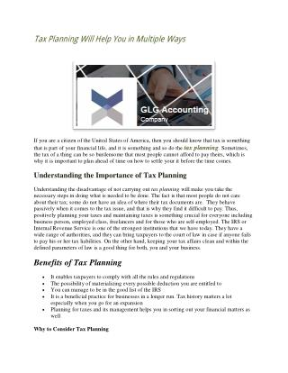 Tax Planning Will Help You in Multiple Ways