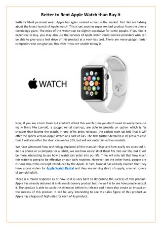 Better to Rent Apple Watch than Buy It