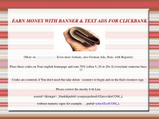 Earn Money With Banner & Text Ads For Clickbank