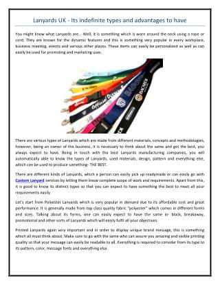 Lanyards UK - Its indefinite types and advantages to have