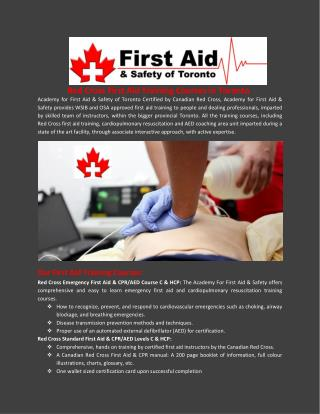 Red Cross First Aid Training Courses in Toronto