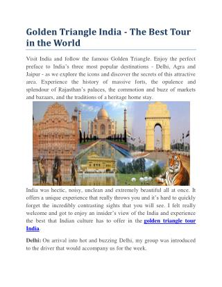 Golden Triangle India - The Best Tour in the World