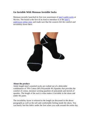 Go Invisible With Mensuas Invisible Socks