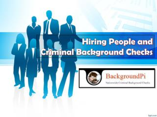 Hiring People and Criminal Background Checks