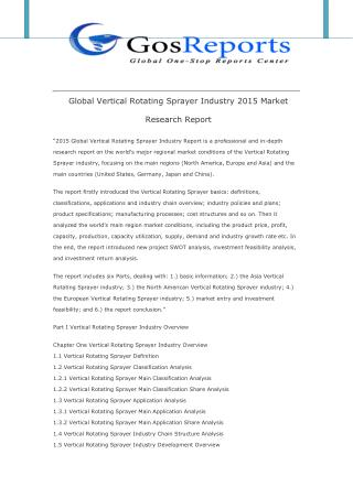 Global Vertical Rotating Sprayer Industry 2015 Market Research Report