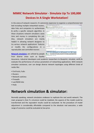 MIMIC Simulator Network Simulator With Thousands of Networking Devices