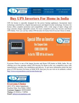 Buy UPS Inverters For Home in India