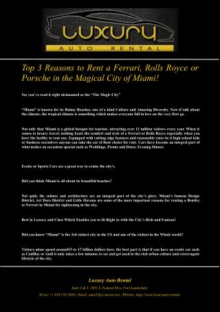 Top 3 Reasons to Rent a Ferrari, Rolls Royce or Porsche in the Magical City of Miami!