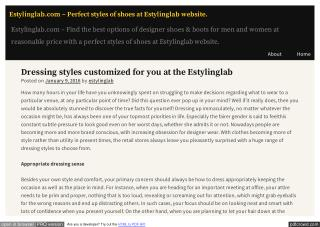 Dressing styles customized for you at the Estylinglab