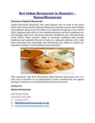 Best Indian Restaurants in Hounslow BansuriRestaur