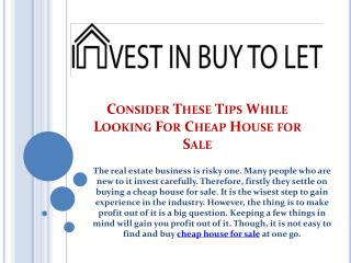 Consider These Tips While Looking For Cheap House for Sale