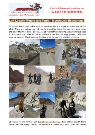 Motorbike Tours in Ladakh- Leh-Ladakh Motorcycle Tours