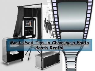 Most Used Tips in Choosing a Photo Booth Rental