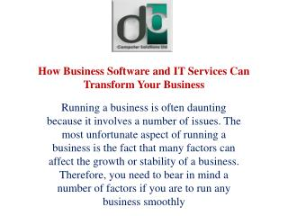 How Business Software and IT Services Can Transform Your Business