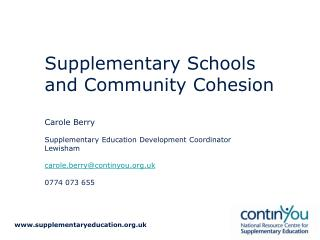 Supplementary Schools and Community Cohesion
