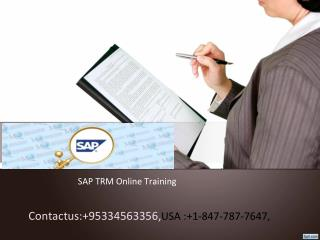 sap trm online training in usa