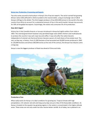 Kenya tea: Production, Processing and Exports