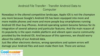Android File Transfer - Transfer Android Data to Computer