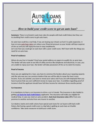 How to build your credit score to get an auto loan?