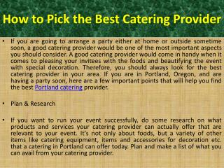 Portland Catering