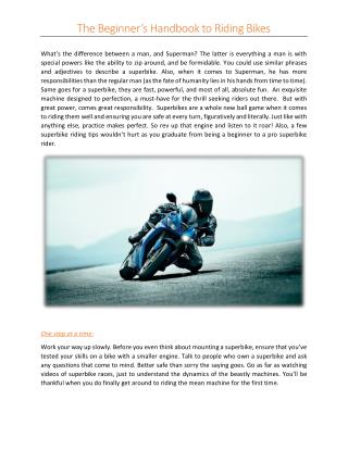 Superbike Riding Tips For Begginers