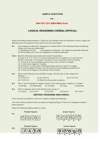 MAH CET 2016 Question Paper / Sample Test Paper