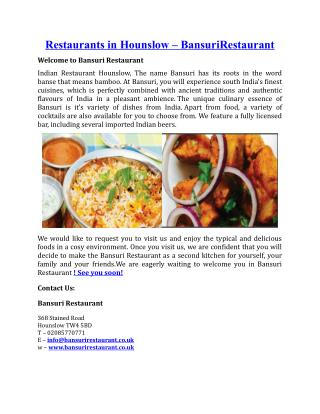Restaurants in Hounslow Bansuri Restaurant