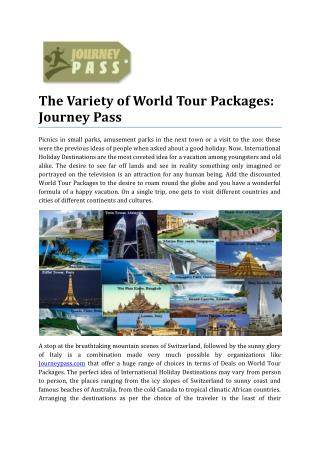 Variety of World Tour Packages: Journey Pass