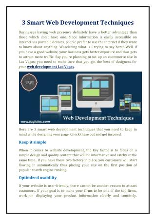 3 Smart Web Development Techniques