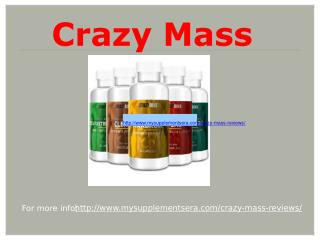 Crazy Mass - Enhanced the protein level within the body