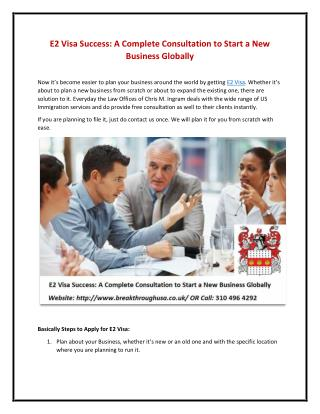 E2 Visa Success: A Complete Consultation to Start a New Business Globally