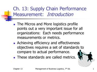 Ch. 13: Supply Chain Performance Measurement:   Introduction