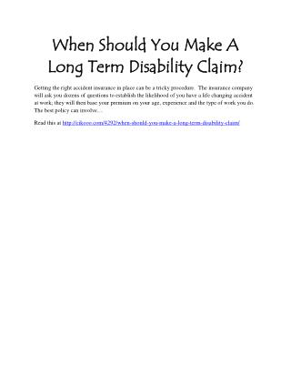 When Should You Make A Long Term Disability Claim?