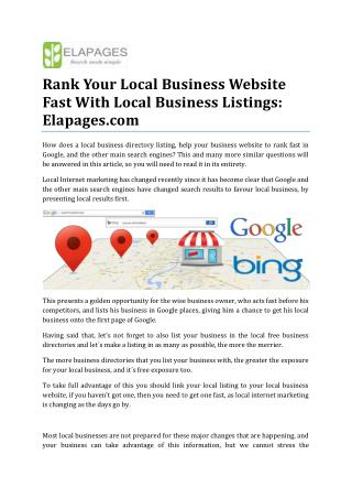Rank Your Local Business Website Fast, Elapages.com