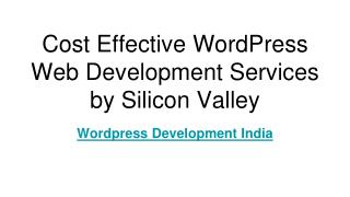 Cost Effective WordPress Web Development Services by Silicon Valley