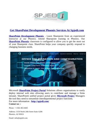 Get SharePoint Development Phoenix Services At Spjedi.com