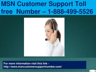 1-888-499-5526 MSN Customer Support Number for Technical Solutions