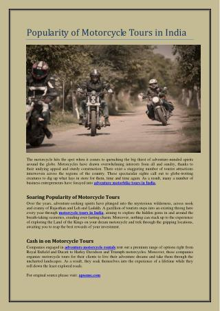Popularity of Motorcycle Tours in India