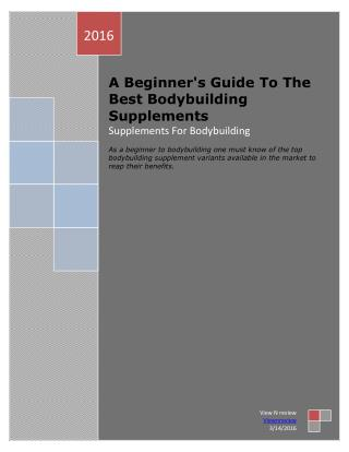 A Beginner's Guide To The Best Bodybuilding Supplements