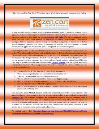 Get Accessible Zen Cart Websites from Web Development Company in India