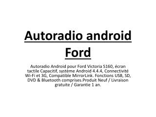 Autoradio Android Ford Victoria Poste DVD GPS Android 4.4.4 USB Bluetooth écran tactile Mirrorlink AirPlay 4G IPOD Iphon