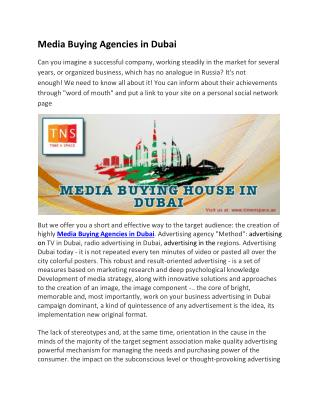 Media Buying Agencies in Dubai