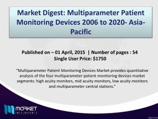 Multiparameter Patient Monitoring Devices 2006 to 2020- Asia- Pacific