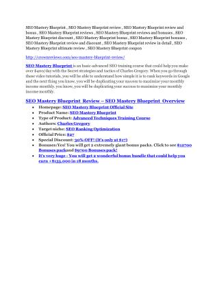 SEO Mastery Blueprint review & SEO Mastery Blueprint $22,600 bonus-discount