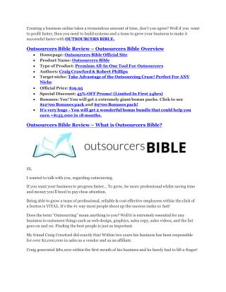 Outsourcers Bible Review and $30000 Bonus--  Outsourcers Bible 80% DISCOUNT