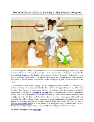 Boost Confidence in Kids by Enrolling in Play Schools in Gurgaon
