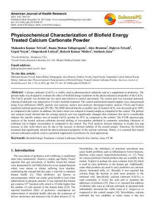 Physicochemical Characterization of Biofield Energy Treated Calcium Carbonate Powder