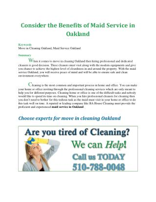 Consider the Benefits of Maid Service in Oakland