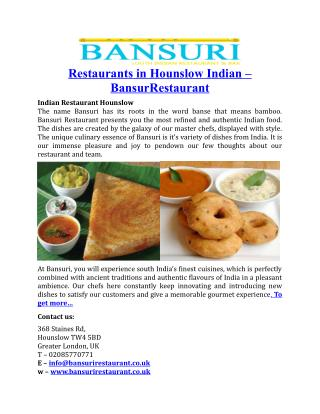 Restaurants in Hounslow Indian Bansuri Restaurant