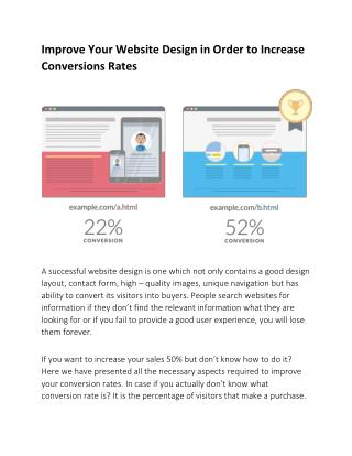 Improve Your Website Design in Order to Increase Conversions Rates